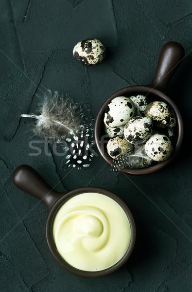 Mayonez çanak tablo yağ yumurta pişirme Stok fotoğraf © tycoon