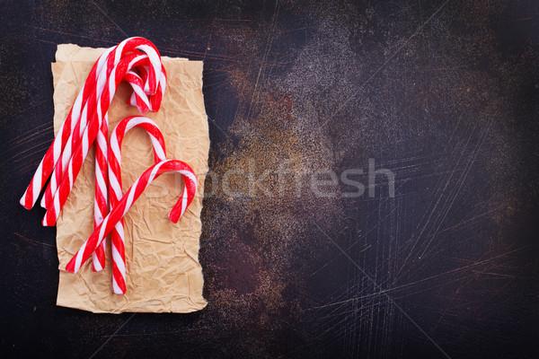 Cukorka karácsony papír asztal étel háttér Stock fotó © tycoon