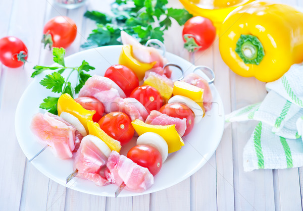 Stockfoto: Ruw · kebab · plaat · tabel · voedsel · restaurant