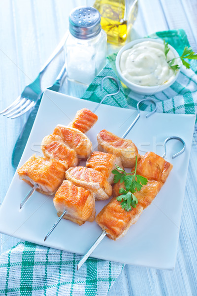 Somon kebap balık turuncu kırmızı sebze Stok fotoğraf © tycoon