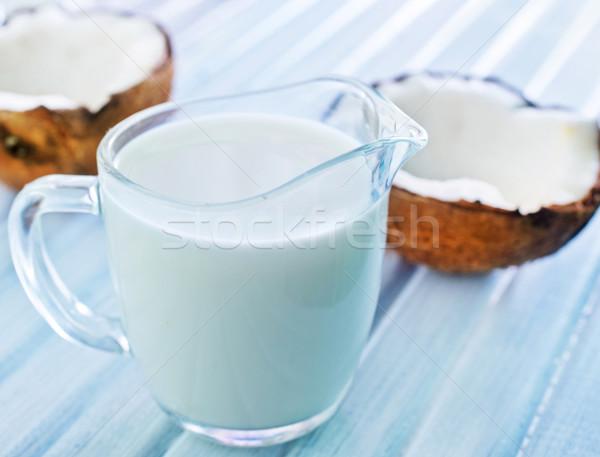 кокосовое молоко стекла здоровья пить молоко энергии Сток-фото © tycoon