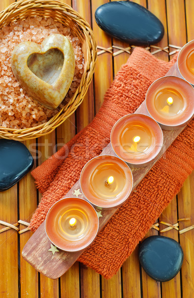 sea salt, soap and towel Stock photo © tycoon