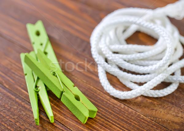 Corda prendedor de roupa madeira trabalhar casa cabo Foto stock © tycoon