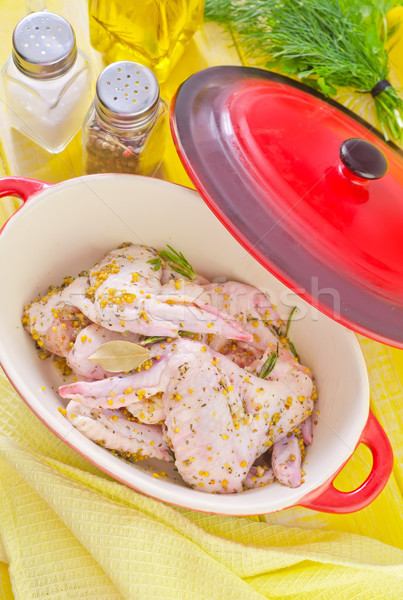 鶏 翼 食品 緑 ディナー 皮膚 ストックフォト © tycoon