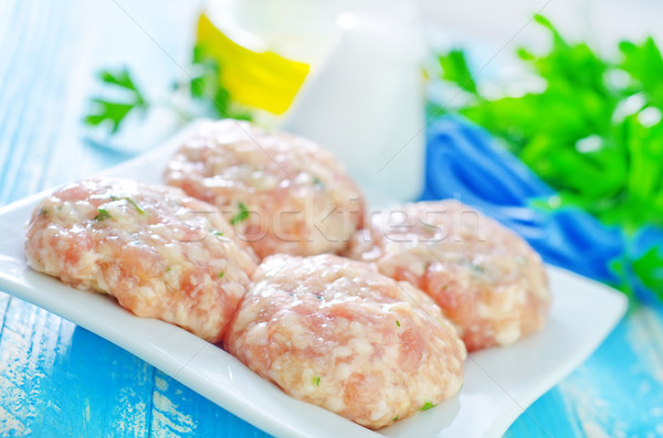 raw meat balls on plate Stock photo © tycoon