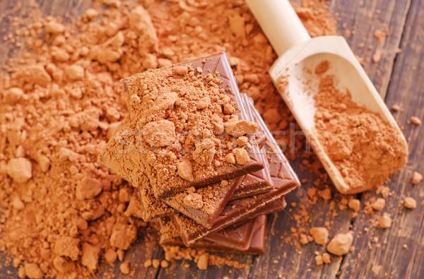 Chocolade hout tabel kok lepel grond Stockfoto © tycoon