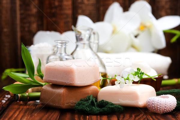 Fürdő tárgyak fából készült egészség zöld gyógyszer Stock fotó © tycoon