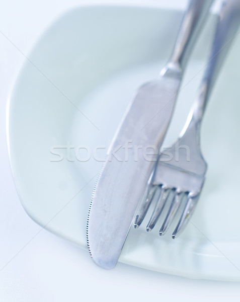 台所用品 金属 表 ディナー ナイフ フォーク ストックフォト © tycoon