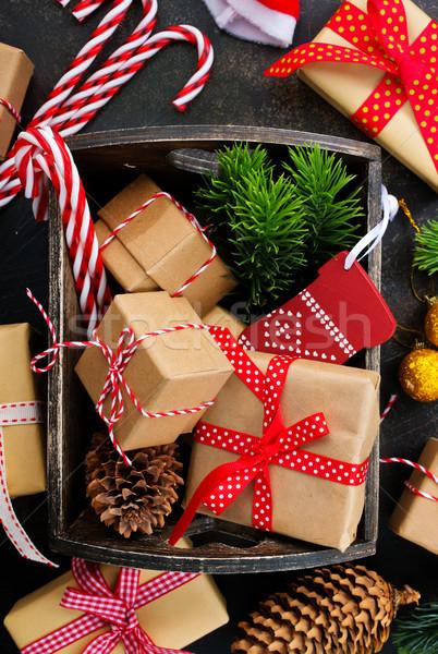 Noel dekorasyon tablo stok fotoğraf ahşap Stok fotoğraf © tycoon