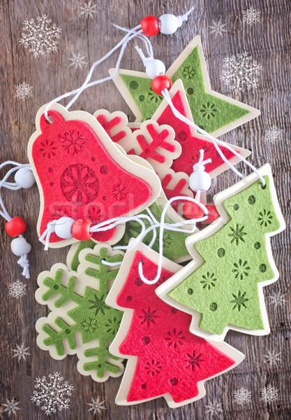 Noel dekorasyon kırmızı ahşap masa ağaç ahşap Stok fotoğraf © tycoon
