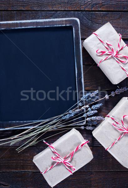 Presentes tabela madeira aniversário fundo Foto stock © tycoon