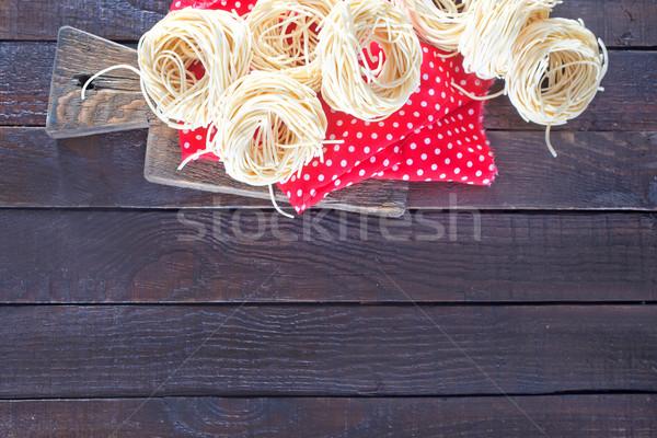 сырой пасты салфетку деревянный стол древесины фон Сток-фото © tycoon