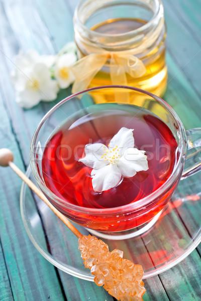 ジャスミン 茶 花 木製のテーブル 花 木材 ストックフォト © tycoon