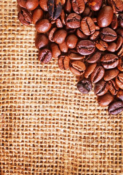 Granos de café mesa de madera cuchillo piso desayuno vintage Foto stock © tycoon
