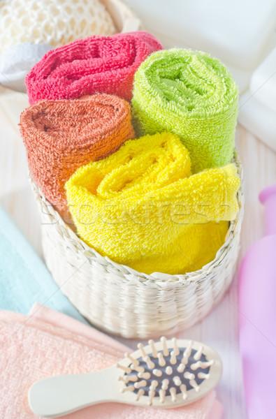 Cor toalhas flor corpo fundo garrafa Foto stock © tycoon