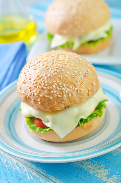 Cheeseburger alimentare cena sandwich pomodoro bistecca Foto d'archivio © tycoon