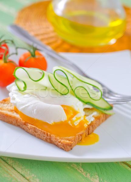 Toast eieren vork witte koken peper Stockfoto © tycoon