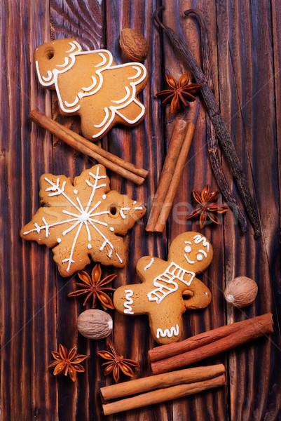 Сток-фото: имбирь · Cookies · Рождества · таблице · дома · дерево