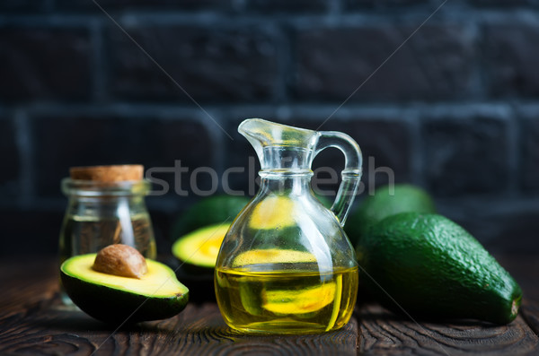 Avocado olie fles tabel voedsel achtergrond Stockfoto © tycoon