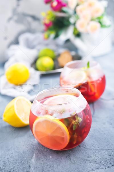 Framboos tabel voorraad foto glas zomer Stockfoto © tycoon