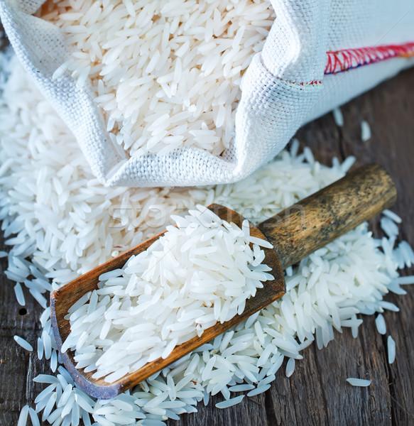 Nyers rizs táska asztal étel háttér Stock fotó © tycoon