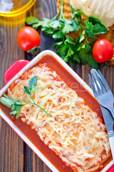Lasaña carne queso tazón alimentos fondo Foto stock © tycoon