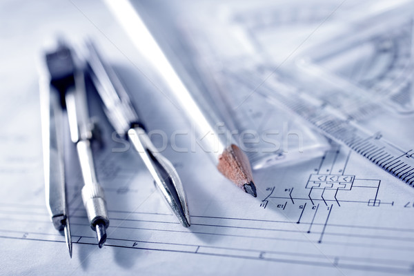 Compass and ruler lie on the drawing Stock photo © tycoon