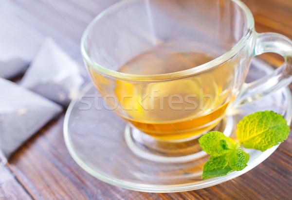ミント 茶 ガラス 背景 薬 朝食 ストックフォト © tycoon