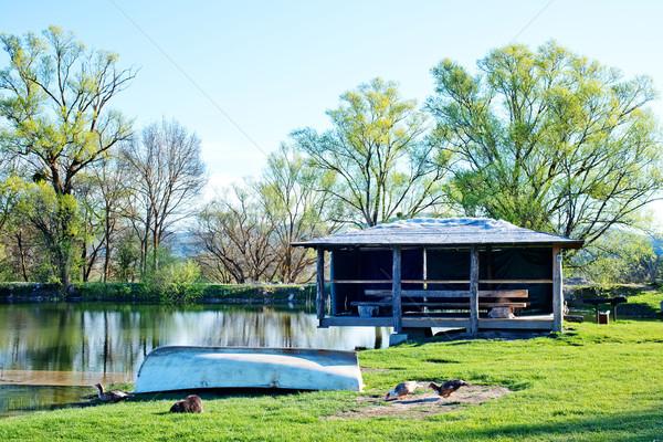 ストックフォト: 湖 · 春 · 自然 · 空 · 雲 · 草