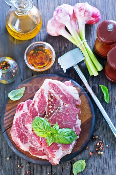 Surowy mięsa przyprawy tabeli żywności Zdjęcia stock © tycoon