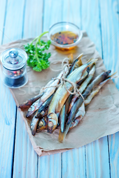 Füstölt hal papír asztal étel fa Stock fotó © tycoon