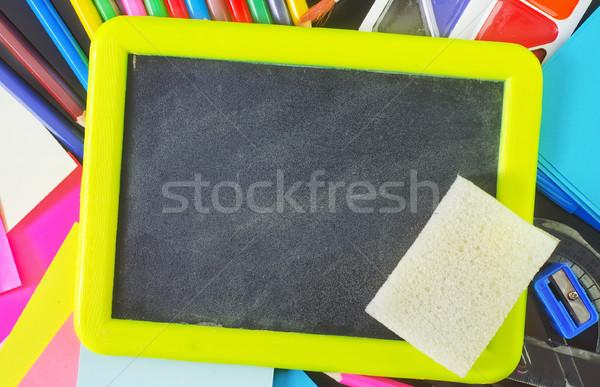 Foto stock: Pizarra · útiles · escolares · escuela · verde · aula · universidad
