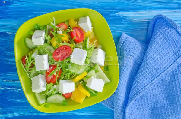 Grieks salade plaat zwarte tomaat peper Stockfoto © tycoon