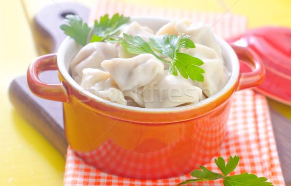 Dîner plaque viande fourche manger poivre Photo stock © tycoon