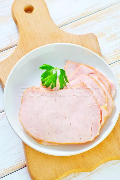 Sonka étel zöld piros tányér fekete Stock fotó © tycoon