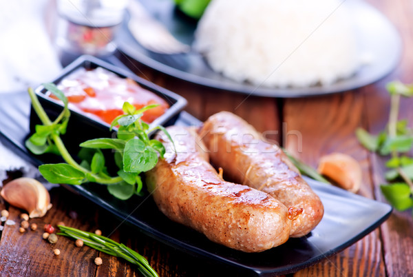 boiled rice with sausages Stock photo © tycoon