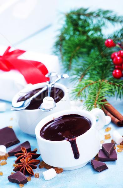 Warme chocolademelk christmas decoratie winter bar koken Stockfoto © tycoon
