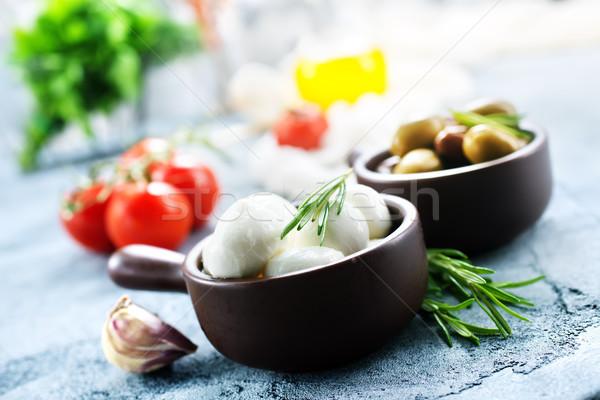 Malzemeler caprese salatası tablo ahşap yaprak akşam yemeği Stok fotoğraf © tycoon