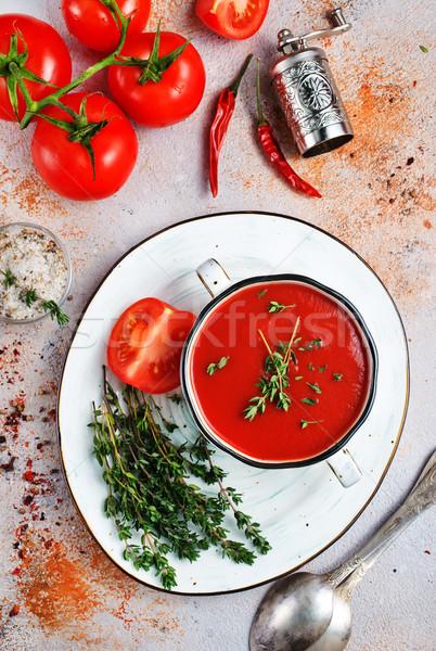 Zupa pomidorowa świeże puchar zupa pomidorów czerwony Zdjęcia stock © tycoon
