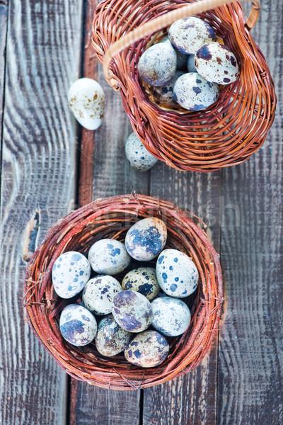 Eieren nest houten tafel voedsel hout ei Stockfoto © tycoon