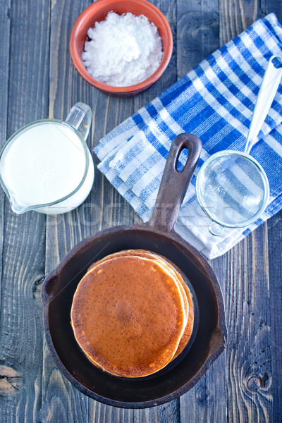 Palacsinták étel sivatag asztal kék forró Stock fotó © tycoon