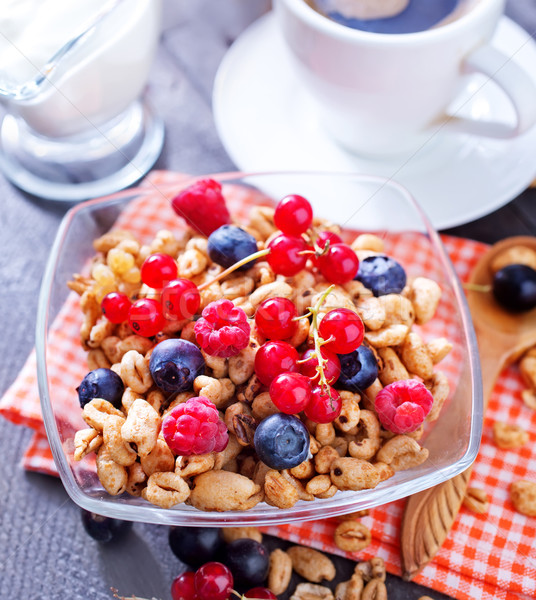 朝食 木材 フルーツ ミルク 赤 食べ ストックフォト © tycoon