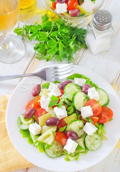 Stok fotoğraf: Yunan · salata · gıda · yeşil · peynir · biber