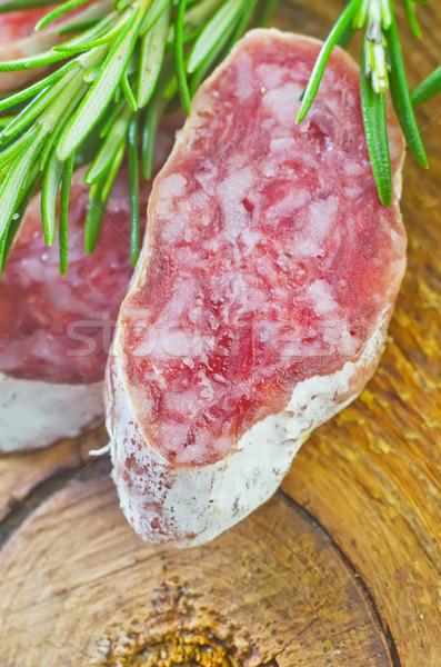 Salame legno carne pelle colazione grasso Foto d'archivio © tycoon