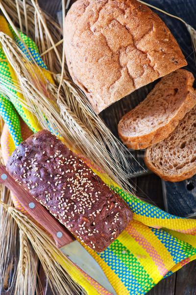 Friss kenyér szalvéta asztal háttér csoport Stock fotó © tycoon