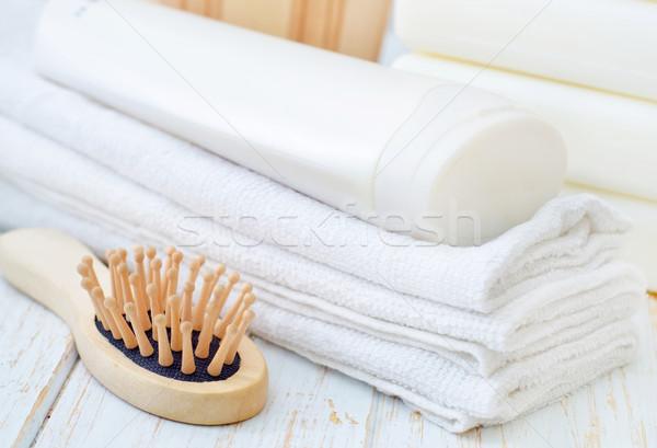 Asciugamani shampoo fiori blu relax colore Foto d'archivio © tycoon