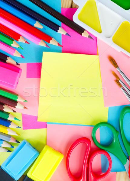 Schoolbenodigdheden kantoor textuur school pen potlood Stockfoto © tycoon