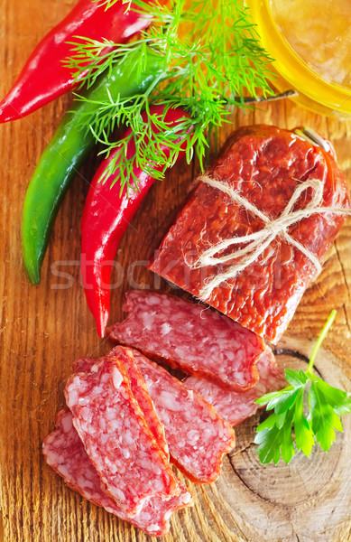 Foto stock: Salame · comida · gordura · sanduíche · comer · piquenique