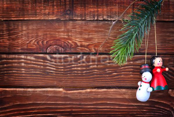 Natal decoração mesa de madeira luz fundo dom Foto stock © tycoon