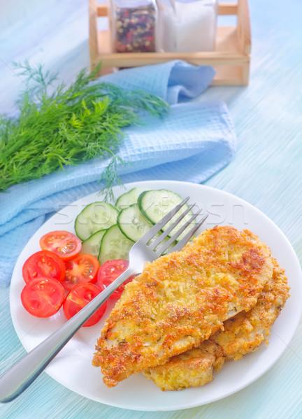 жареная курица овощей фон ресторан группа обеда Сток-фото © tycoon